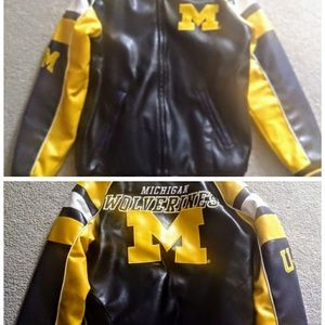 💥U of Michigan Faux Leather Coat! *!